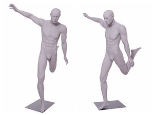 Soccer Playing Male Mannequin 3: Matte Light Grey