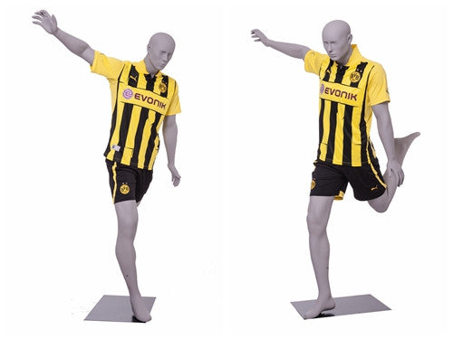 Sports: Male Soccer Mannequin 3 -- Matte Light Grey