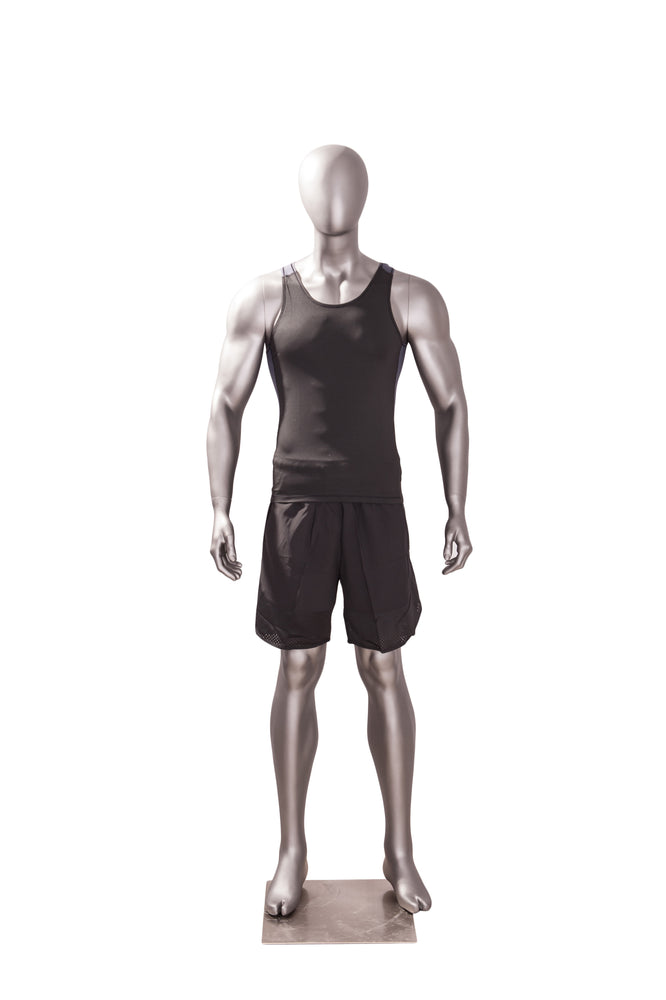 Sports Egghead Male Mannequin Standing Pose 2: Matte Grey