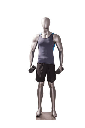 Egghead Male Mannequin Exercising Pose 1: Matte Grey