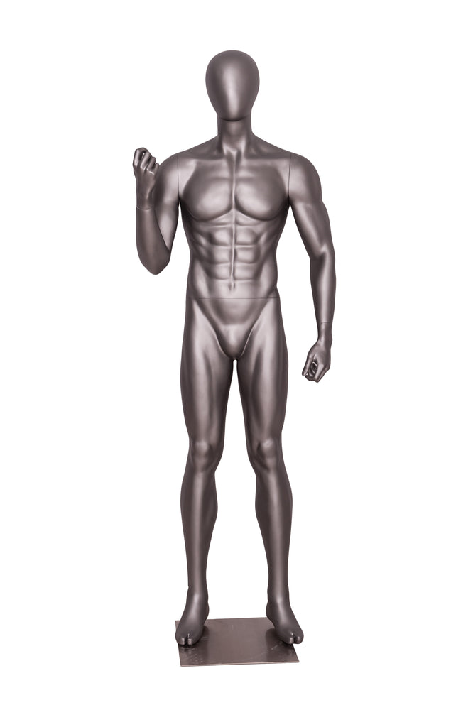 Egghead Male Mannequin Exercising Pose 2: Matte Grey