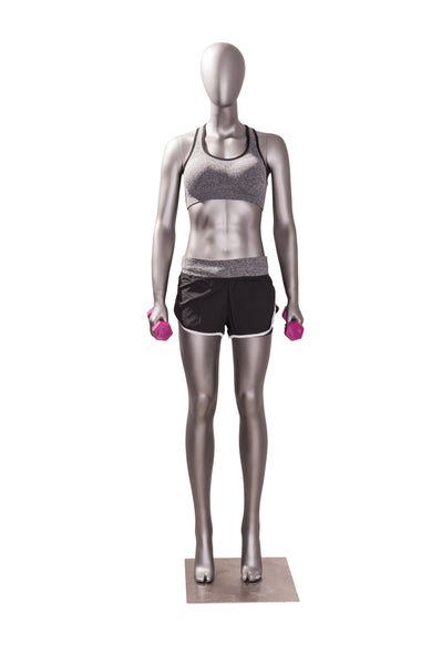 Sports Female Mannequin In Exercising Pose 1: Matte Grey