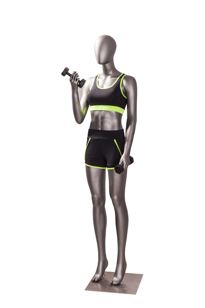 Sports Female Mannequin in Exercising Pose 2: Matte Grey