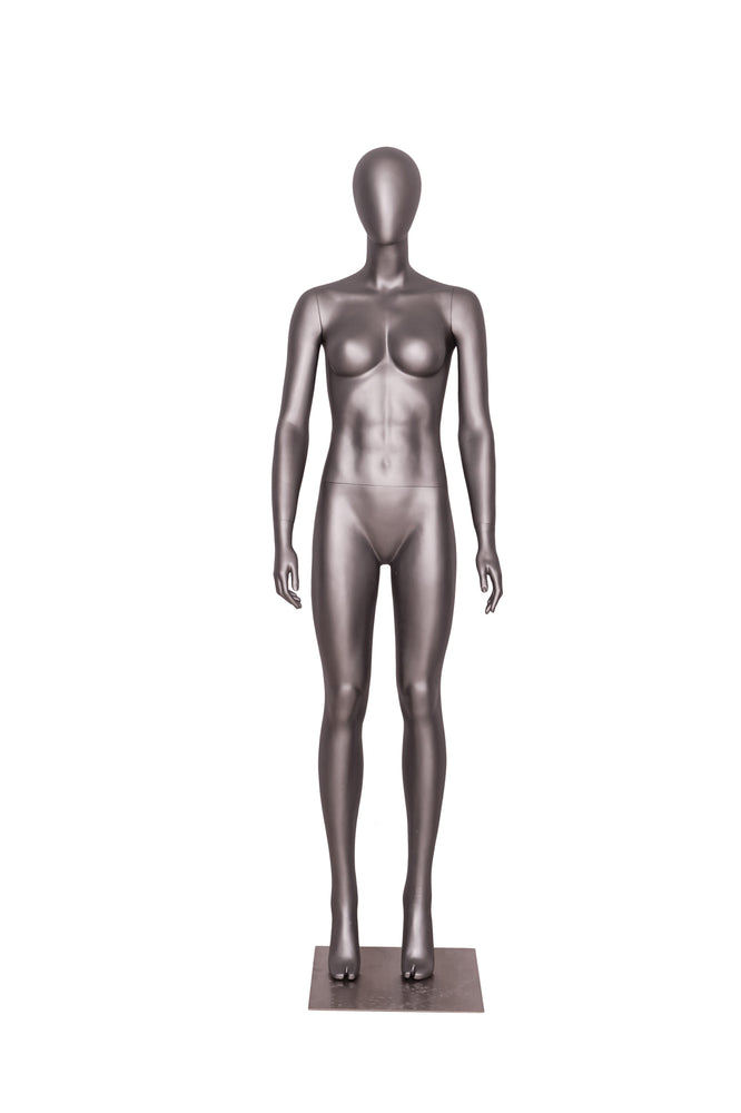Sports Egghead Female Mannequin Standing Pose 2: Matte Grey