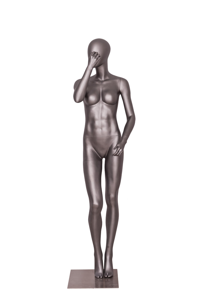 Sports Female Mannequin in Exercising Pose 3: Metallic Grey