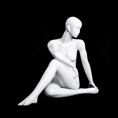 Yoga Egghead Female Mannequin in HALF SPINAL TWIST Pose: Pearl White