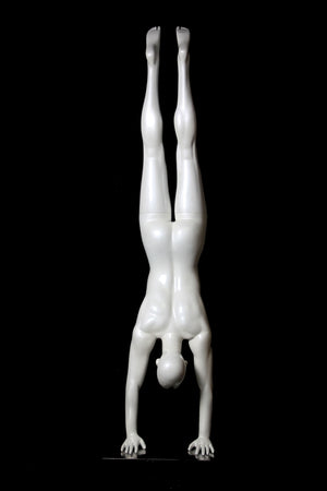 Yoga Egghead Female Mannequin in Handstand Pose: Glossy Pearl