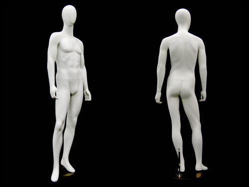 Max: Egghead Male Mannequin in Semi-Matte White