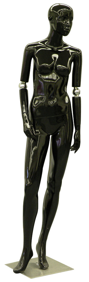 Realistic Female Mannequin with Bendable Arms #1 - Black Glossy