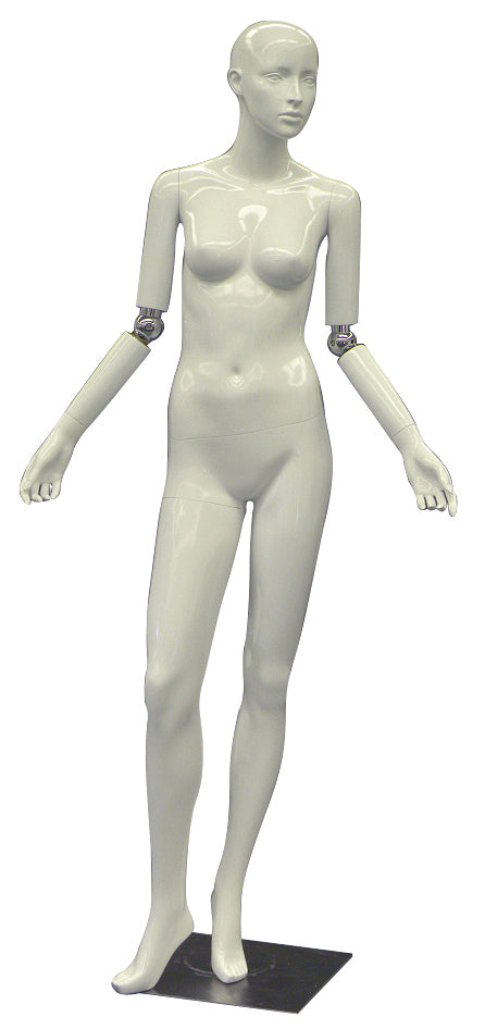 Realistic Female Mannequin with Bendable Arms #1 - White Glossy