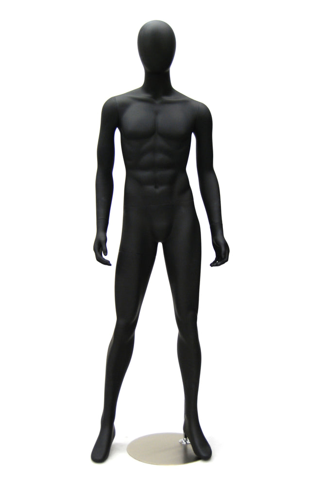 Aidan: Egghead Male Mannequin in Matte Black