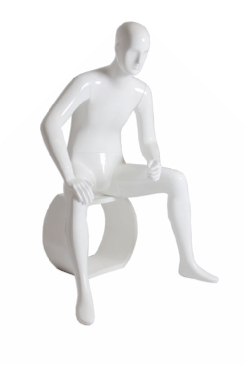 Jin: Abstract Male Mannequin Seated: White Glossy
