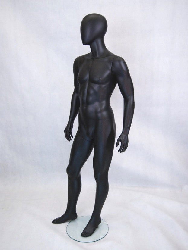 Hugh: Egghead Male Mannequin in Matte Black or Satin Black