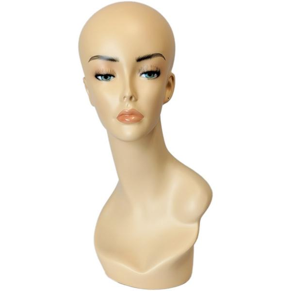 Lindsey: Female Mannequin Head Form with V-Neck & Partial Shoulder