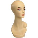 Female Mannequin Head Form with V-Neck & Partial Shoulder