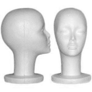 Female Styrofoam Mannequin Head w/ Long Neck - Set of 5