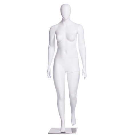 Abby 1: Plus Size Female Egghead Mannequin Matte White
