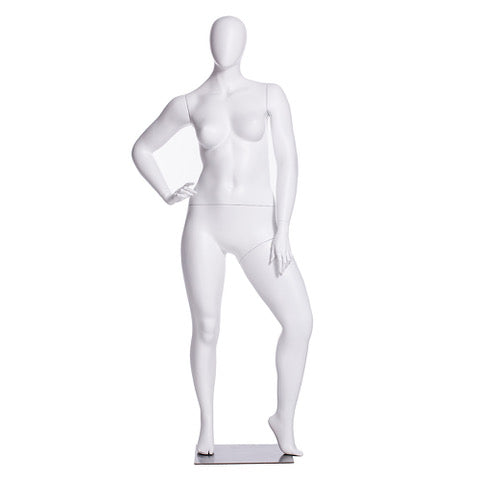 Ashley 3: Plus Size Female Egghead Mannequin Matte White
