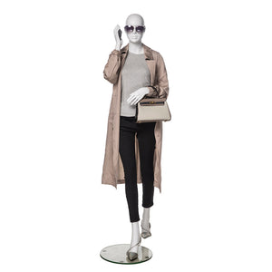 Female Mannequin with Abstract Head in Walking Position: Matte White