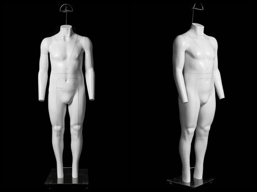 Male Ghost Mannequin - Big & Tall, Deluxe Version Non-Rotating Base