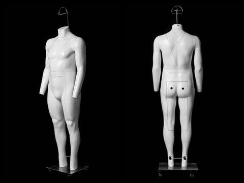 "Big & Tall Male ""Ghost"" Mannequin Deluxe Version with Non-Rotating Base"
