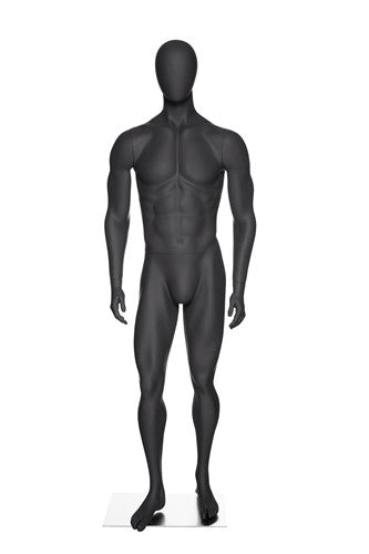 Athletic Egghead Male Mannequin Standing Pose -- Matte Grey