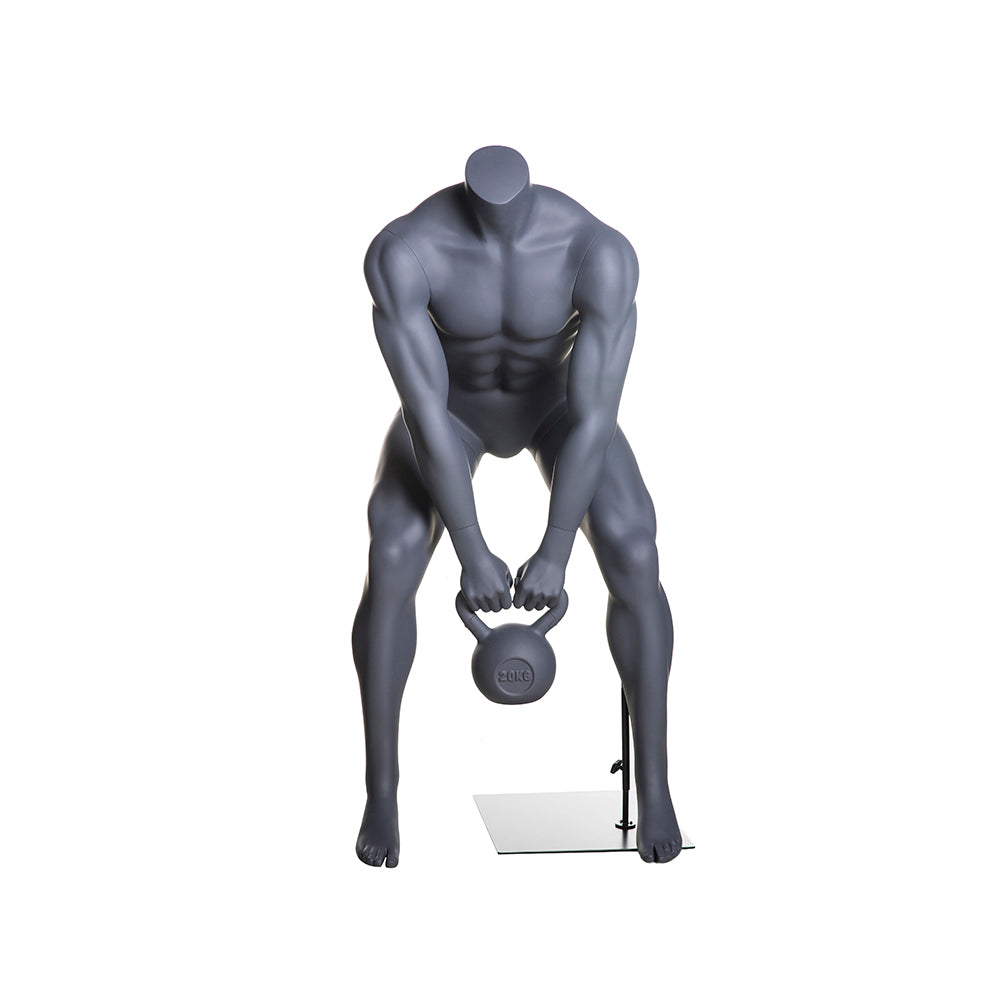 Athletic Headless Male Mannequin Lifting Kettlebell