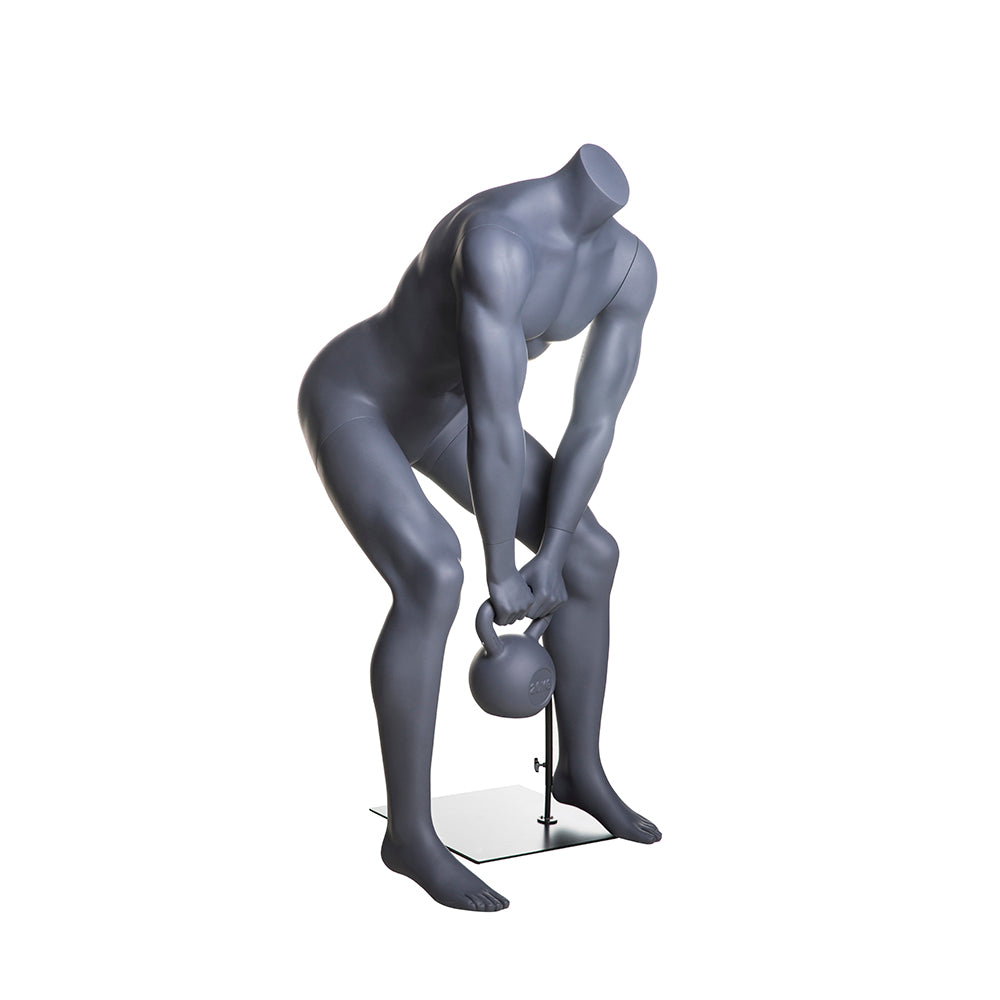 Athletic Egghead Male Mannequin Lifting Kettlebell