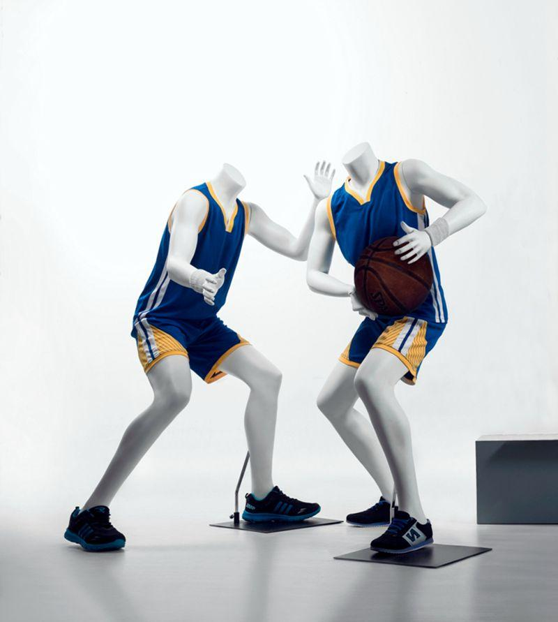 Basketball-posing Headless Male Youth Mannequin 1: Matte White