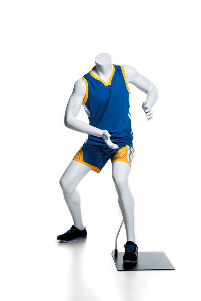 Basketball-posing Headless Male Youth Mannequin 2: Matte White