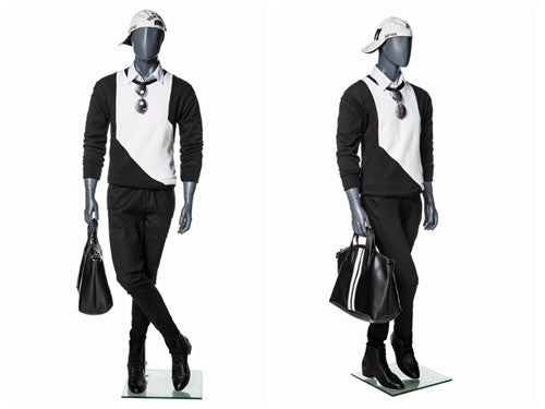 Egghead Male Mannequin in Standing Pose 1: Grey