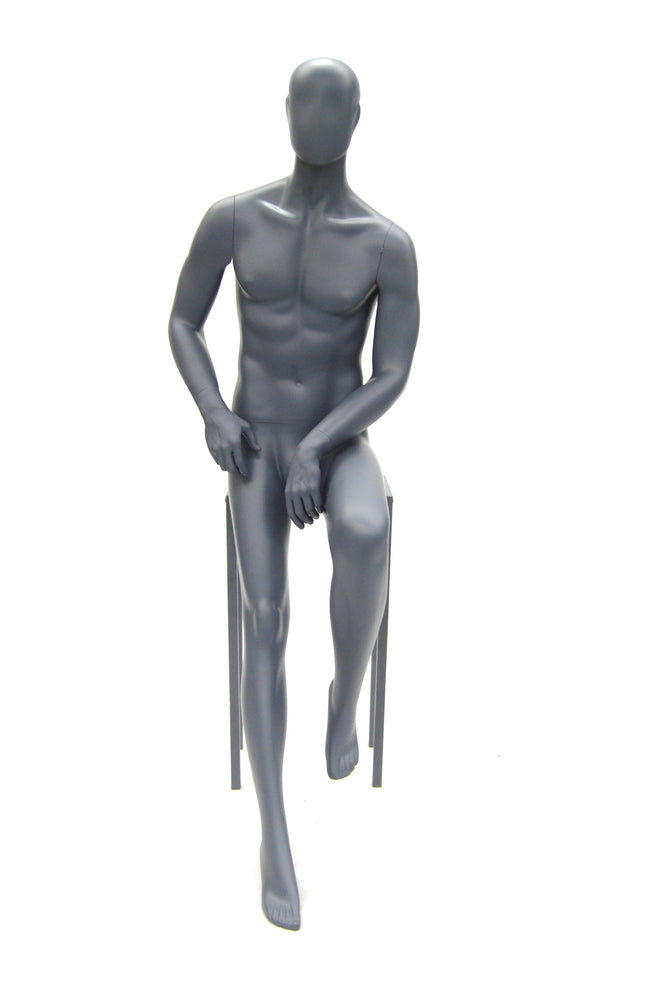 Egghead Male Mannequin in Sitting Pose: Grey