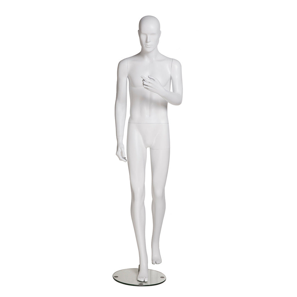 Male Mannequin with Abstract Head in Walking Position: Matte White