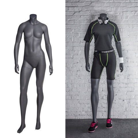 Sports Headless Female Mannequin With Arms At Side: Matte Grey
