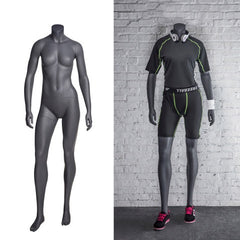 Athletic Headless Female Mannequin with Arms Down -- Matte Grey