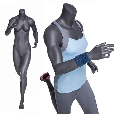 Running Headless Female Mannequin: Matte Grey