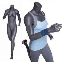 Running Headless Female Mannequin -- Matte Grey