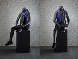 Athletic Headless Female Mannequin Tying Her Shoe - Matte Black