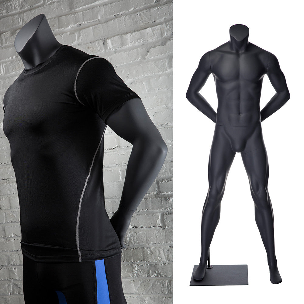 Athletic Headless Male Mannequin Arms Behind Back -- Matte Gray