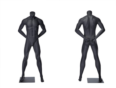 Sports Headless Male Mannequin Arms Behind Back: Matte Gray