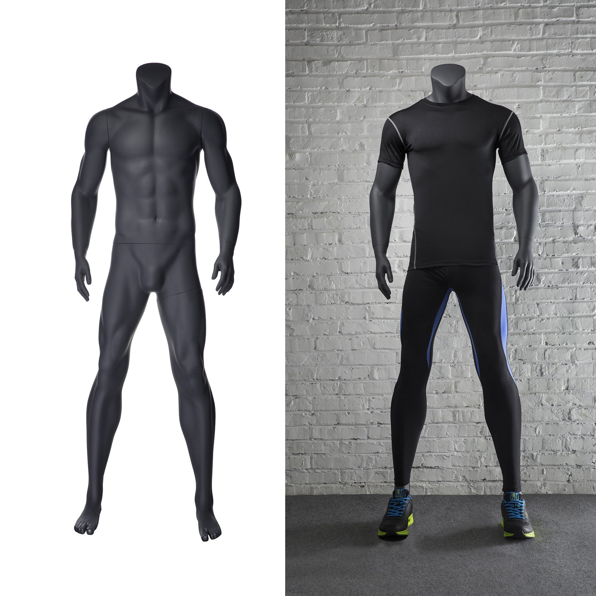 Athletic Headless Male Mannequin Standing Pose -- Matte Grey