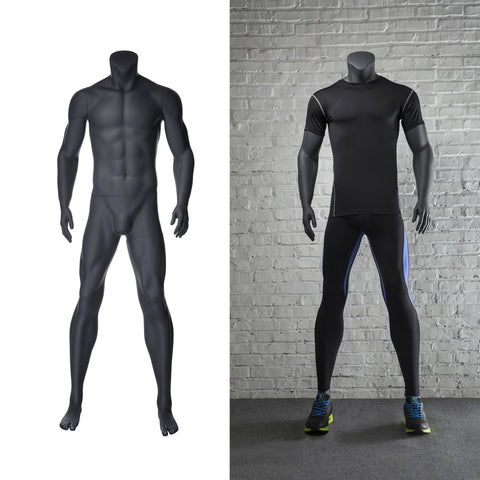 Athletic Headless Male Mannequin Standing Pose: Matte Grey