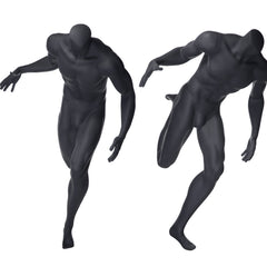 Sports: Headless Male Mannequin in Basketball Pose -- Matte Grey