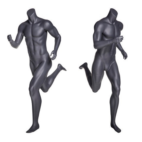 Running Headless Male Mannequin: Matte Grey