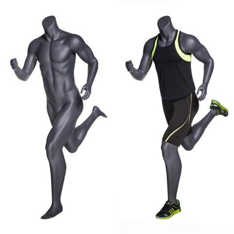 Headless Male Mannequin in Running Pose -- Matte Grey