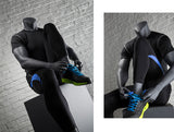 Athletic Headless Male Mannequin  Putting on Athletic Shoes -- Matte Gray