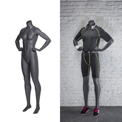 Athletic Headless Female Mannequin Both-Hands-on-Waist Pose -- Matte Grey