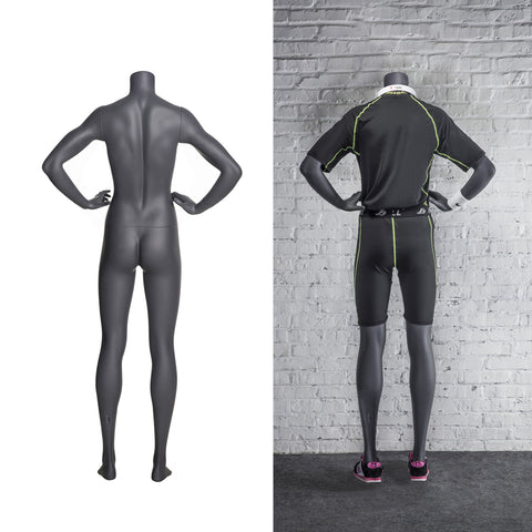 Sports Headless Female Mannequin Both-Hands-on-Waist Pose: Matte Grey