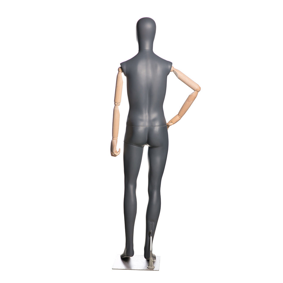 Egghead Male Full Body Mannequin with Wooden Arms 3: Matte Grey