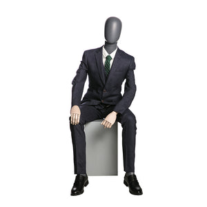 Egghead Male Full Body Mannequin with Wooden Arms 4 in Sitting Position: Matte Grey